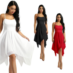 Image 3 - למבוגרים נשים אלגנטי עכשווי Dancewear בלט בגדי גוף לנשים ספגטי רצועת אסימטרית שיפון סלוניים שמלת ריקוד חדש