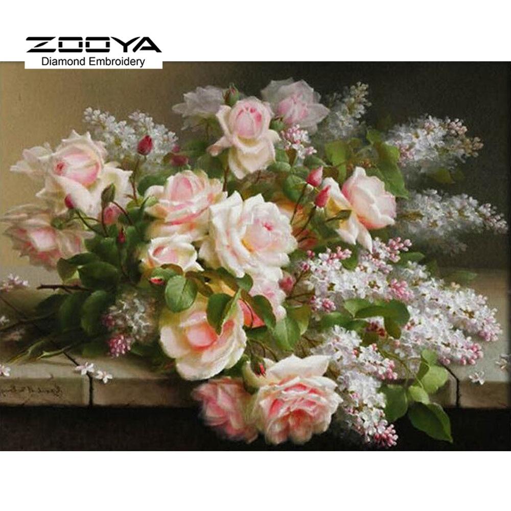 D diy diamond painting cross stitch flower white rose