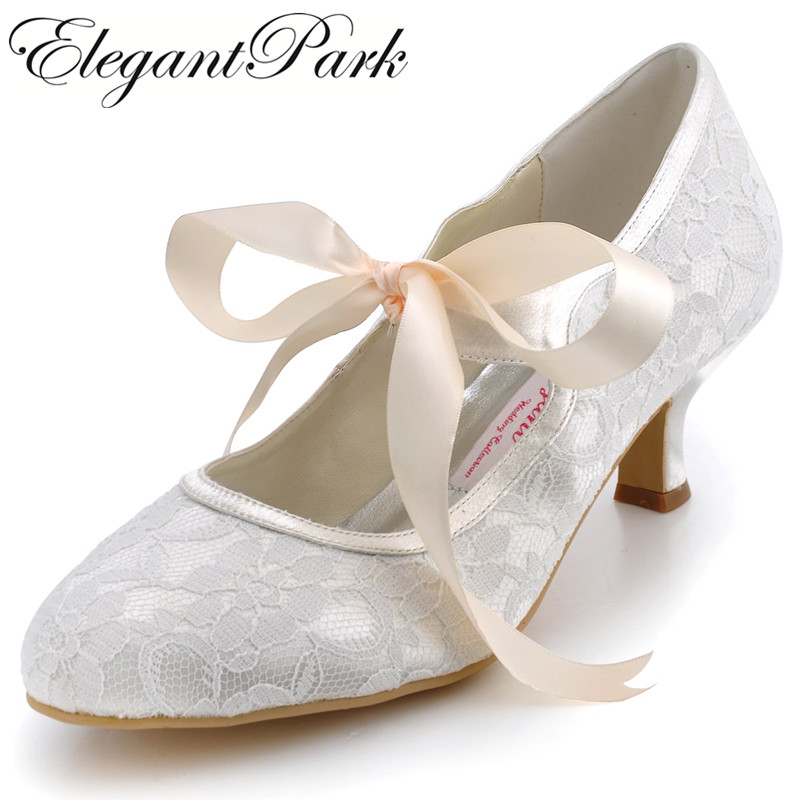 "A3039 Ivory Wedding Shoes Closed Toe 2"" Spool Heel Ladies"