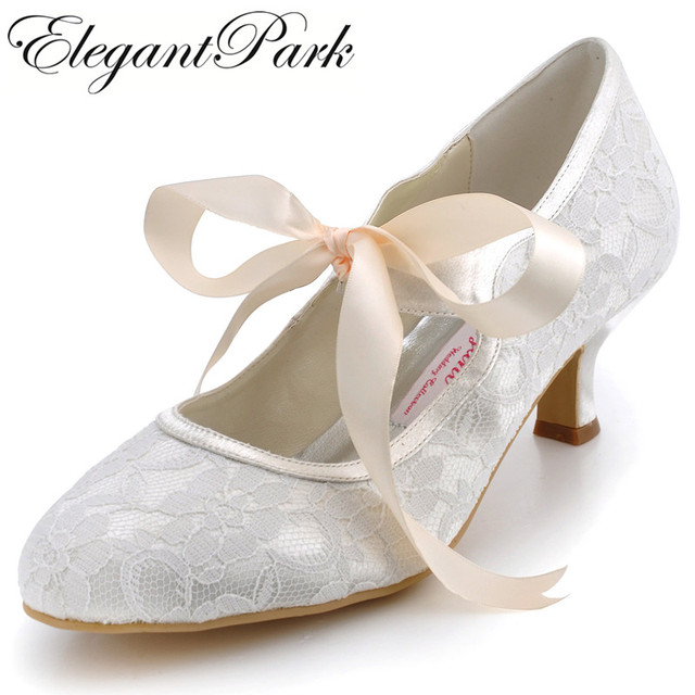 A3039 Ivory Wedding Shoes Closed Toe 2 Spool Heel Las Mary Janes Lace Up
