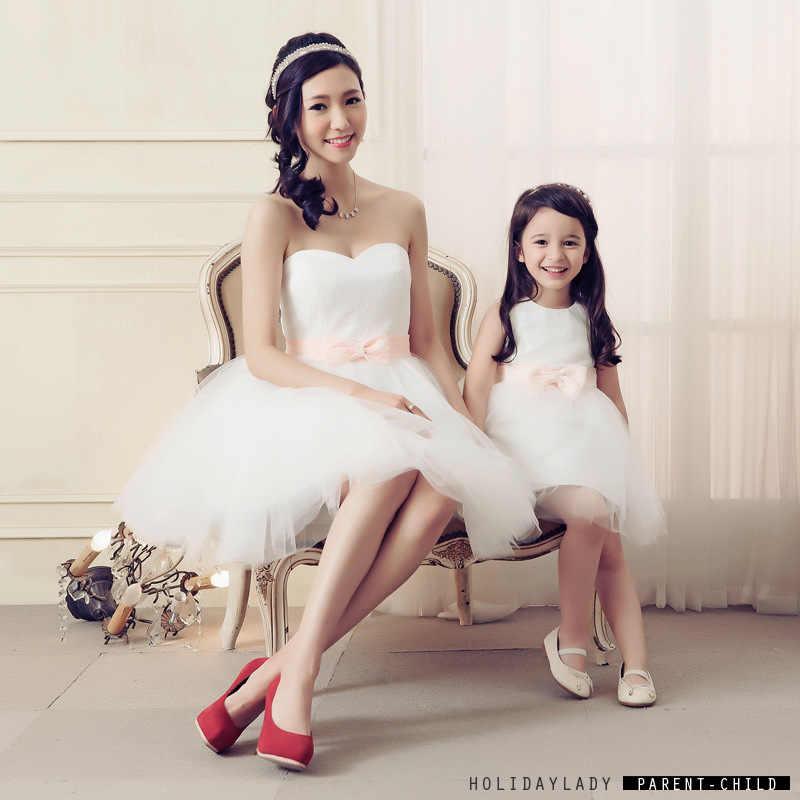 Мама и дочь платье 2016 мать дочь платья ну вечеринку свадьба принцесса девушки платье соответствия мать-дочь одежды мама и дочка платья платье летнее летние платья мама и дочка комплекты одежды для мамы и дочки одежда