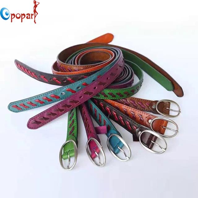 Correa de cuero genuino ocasional del todo-fósforo Mujeres de la correa de las mujeres decoración breve moda pin hebilla cinturones ceinture dropshipping PB275