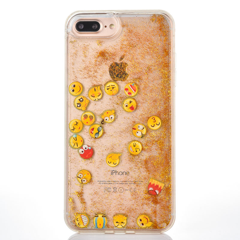 For iphone X 6S 6plus 7 8 plus Phone Case Luminous Smile Face QQ Expression Emoji Glitter Dynamic Liquid Quicksand Cover coque