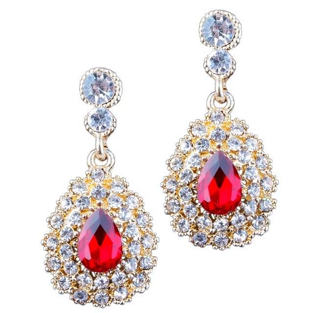 2017 Brand Red Rhinestone Gem Earrings Alloy Fashion Elegant Simple Wedding Crystal Drop For