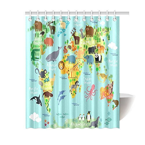 Aplysia Children Kids Shower Curtain Animal Map Of The World For Ocean Mountains Forests Bath Curtains