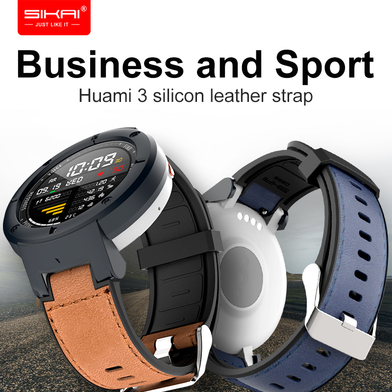 Watch Strap For Amazfit Verge Huami 3 Lite Case Replacement Bracelet Leather Breathable Silicone Band SIKAI Accessories Cover
