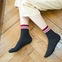 Women Socks for Autumn and Winter Simple Patchwork Two Bar Rib Top Dark stripe socks 5pairs free shipping Cotton Fashion Socks
