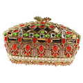 Vintage Beaded Red Clutch Purse Embellished Crystal Clutch Evening Bags Gorgeous Chinese Make Clutch Bridal Purse for Weddings