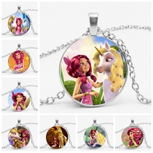цена на Fashion Cartoon Anime Mia and Me Glass Convex Round Pendant 3 Color Men and Women Clothing with Horse Necklace Gift Jewelry