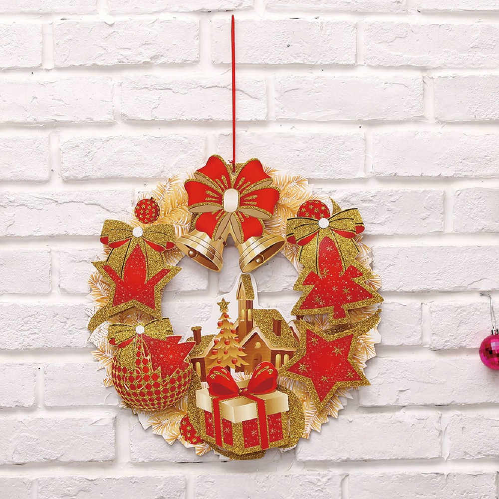 40cm garland Christmas Paper Wreath Door Ornaments new Year 2019 Party Wedding Birthday home decorations for christmas