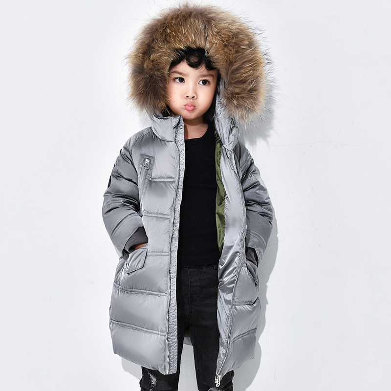 Girls Real Raccoon Fur Collar Coat Kids Down Jacket For Girls With Fur Hooded Children Warm Winter Jacket Boys Outerwears цены онлайн
