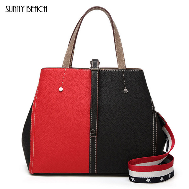 b90d9d2fff3 SUNNY BEACH Women Brand New Design Handbag Black And red Collage Tote Bag  Female Shoulder Bags High Quality PU Leather Purse