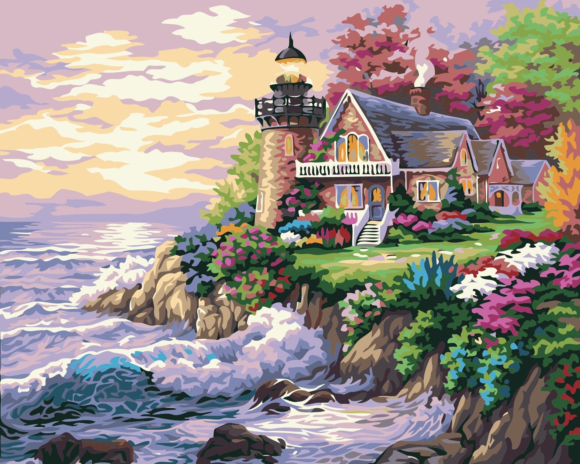 По количеству стены Пейзаж diy картина маслом Приморский мечтать s Pinturas дома Decoracion фотографии холст окраски