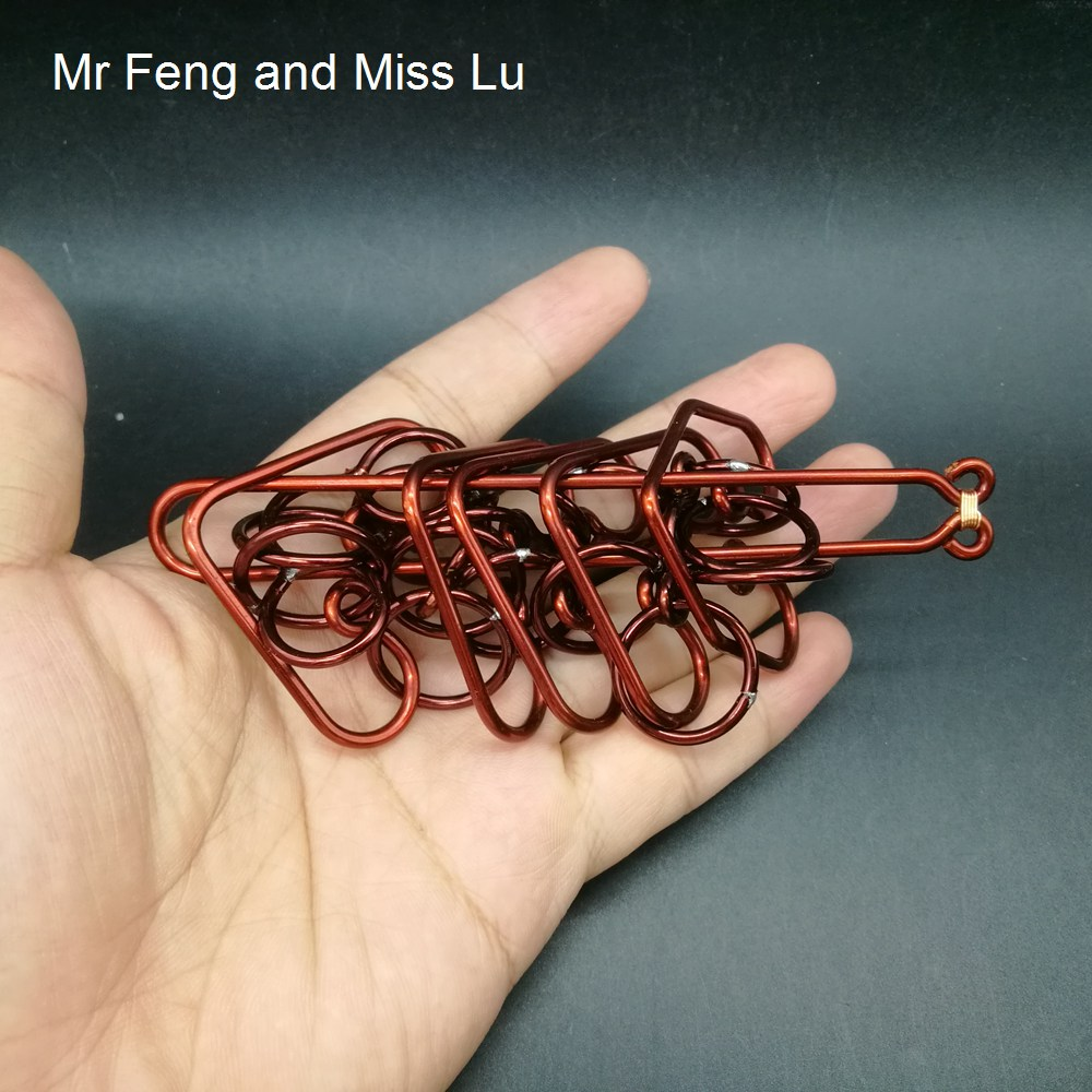 Silkworm Shape Handmade Red Copper Ring Puzzle Toys Hobbies Difficult Game
