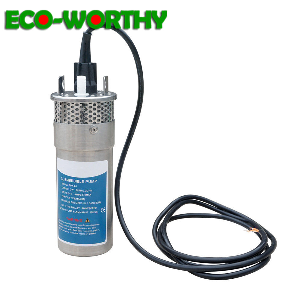 ECOworthy 12V 24V Submersible Deep DC Solar Well Stainless Steel Water Pump for Farm Ranch Solar