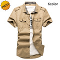 New 2016 Indoor Summer Cotton Solid Leisure Shirts Short Sleeve Uniform Thin Men tooling Slim Military Turn-down Cargo Clothing