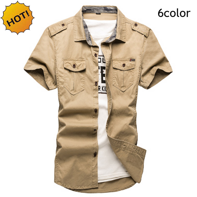 New 2018 Indoor Summer Cotton Solid Leisure Shirts Short Sleeve Uniform Thin Men tooling Slim Military Turn-down Cargo Clothing