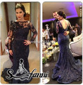 Amazing vestido de festa Evening Party Gown Full Sleeves Beading Lace Mermaid Long Navy Blue Prom Dresses