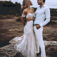 Sexy Boho Beach Ivory Lace Mermaid Wedding Dresses 2019 Sweetheart Long White Bridal Dresses Hawaiian Wedding Dress Gowns Summer