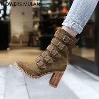 Новые дизайнерские женские ботильоны в римском стиле с пятью металлическими ремешками и пряжками, замшевые женские ботинки на высоком квад