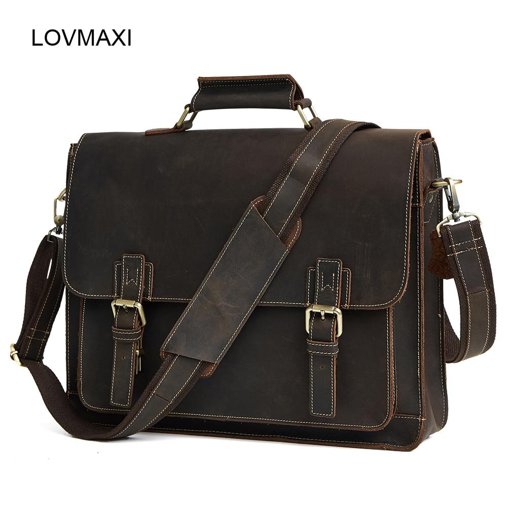 Γνήσια δερμάτινα τσάντες Ανδρικά δερμάτινα τραπεζομάντιλα Crazy Horse Business τσάντες Crossbody Μεγάλες τσάντες Messenger Bag Travel Bag