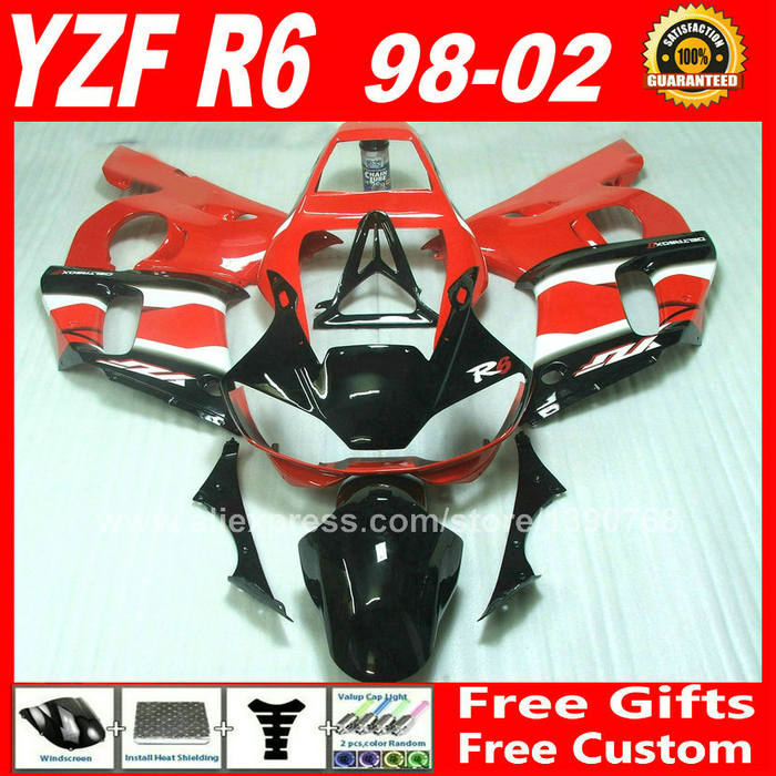 Fairings kit for 1998 - 2002 YAMAHA YZF R6 red white plastic parts 1999 2000 2001 98 99 00 01 02 fairing kits X1Z9 hot sales yzf600 r6 08 14 set for yamaha r6 fairing kit 2008 2014 red and white bodywork fairings injection molding