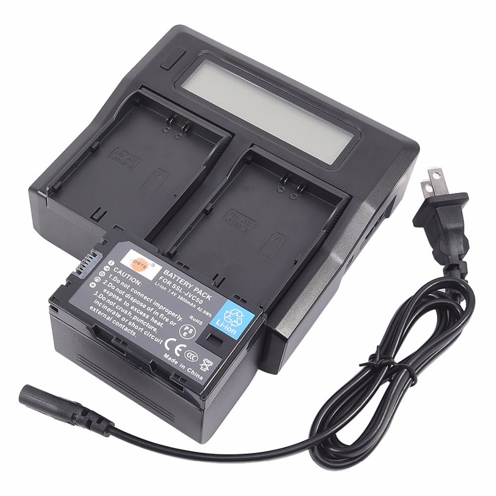DSTE Li-ion SSL-JVC50 Battery + 1.5A Dual Charger for JVC GY-HM600 GY-HM650 GY-LS300 Smart Digital Camera