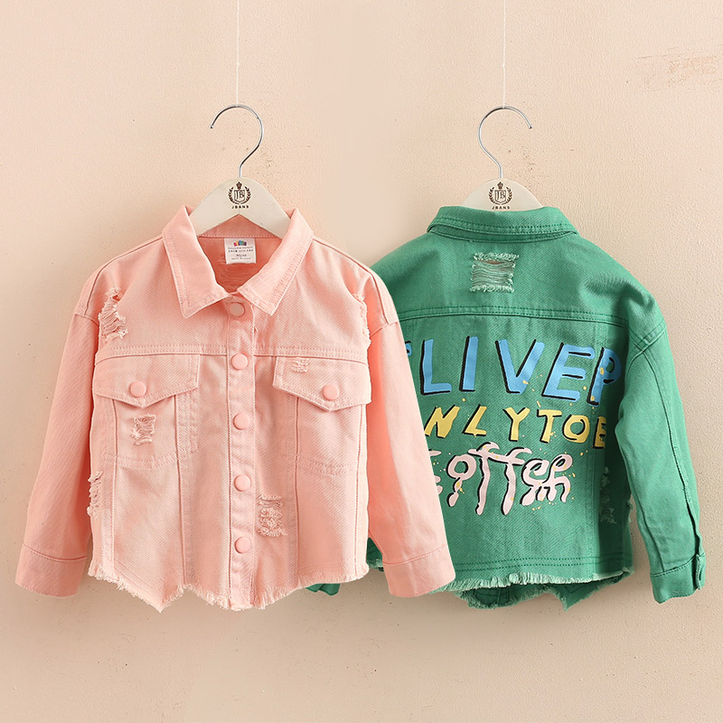 2018 Autumn Spring New Fashion2 3 4-8 10 12 Years Teenage Christmas Gift Little Child Baby Coat Tops Kids Denim Jacket For Girls