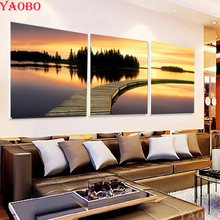 3 Piece Sunset seaside diy diamond painting cross stitch kits full drill diamond embroidery icon mosaic Pictures For Living Room