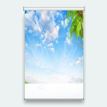 Customize 3D Roller Blinds White cloud coconut tree For Living room Bedroom Bathroom Kitchen Window Roller Blinds