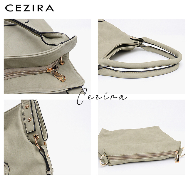CEZIRA Brand Fashion Vegan Leather Women Shoulder Bags Female Casual Hobos Ladies Large PU Zip Pocket Tote Handbag Messenger Bag 1
