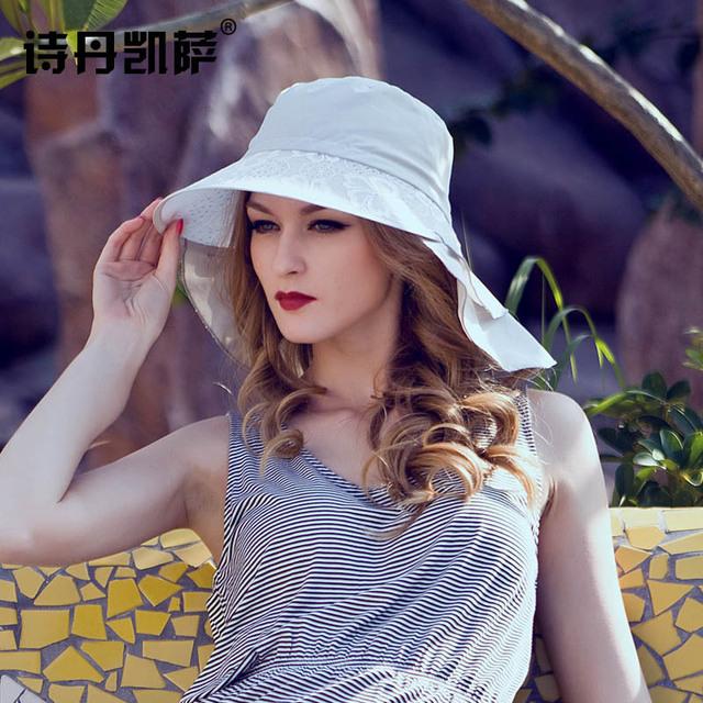 2016 Nueva Señora Sombrero Para el Sol Sombrero de Verano Las Mujeres Plegado de Ala Ancha Dom Casquillo Elegante Viajar Sombrero Nuevo Headwear B-1983