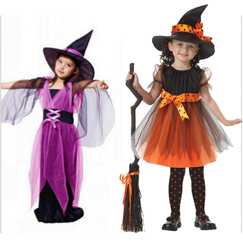 2018 HOT Halloween Witch Costume For Children Witch Cosplay Girl Fancy Dress Hat Fantasia Infantil Carnival Party Kid Christmas