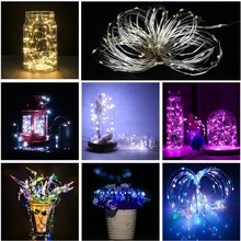 купить LED String Lights 10M 5M 2M Sliver Cooper Wire Garland Home Christmas Wedding Party Decoration Powered 3*AA Battery Fairy light дешево