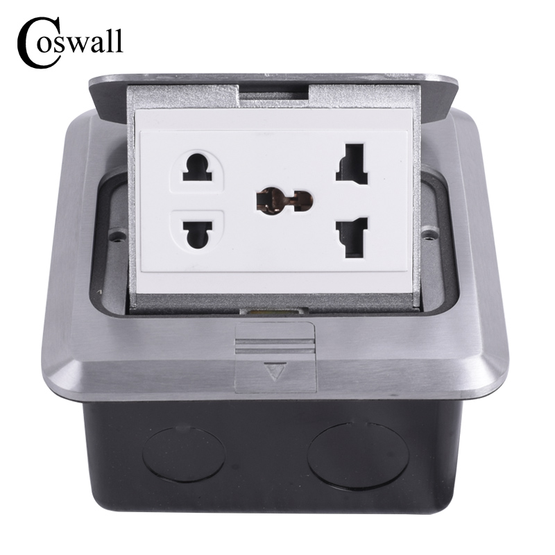 Coswall All Aluminum Silver Panel Universal 5 Hole Pop Up Floor Socket Power Outlet AC 110~250V