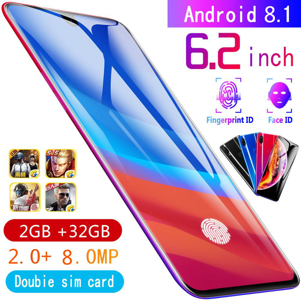 2gb+32gb CHAOAI X23 6.2 Inch Smartphone Unlocked Mobile Android 8.1 8 Core HD Cameras 2 Sim 2 Standby 3g Cellphone