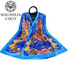 MAGNOLIA 100% Silk Scarf Lady Scarf Spring And Autumn Silk Silk Double Ribbon Long Button Shawl Gift Wholesale desigual women