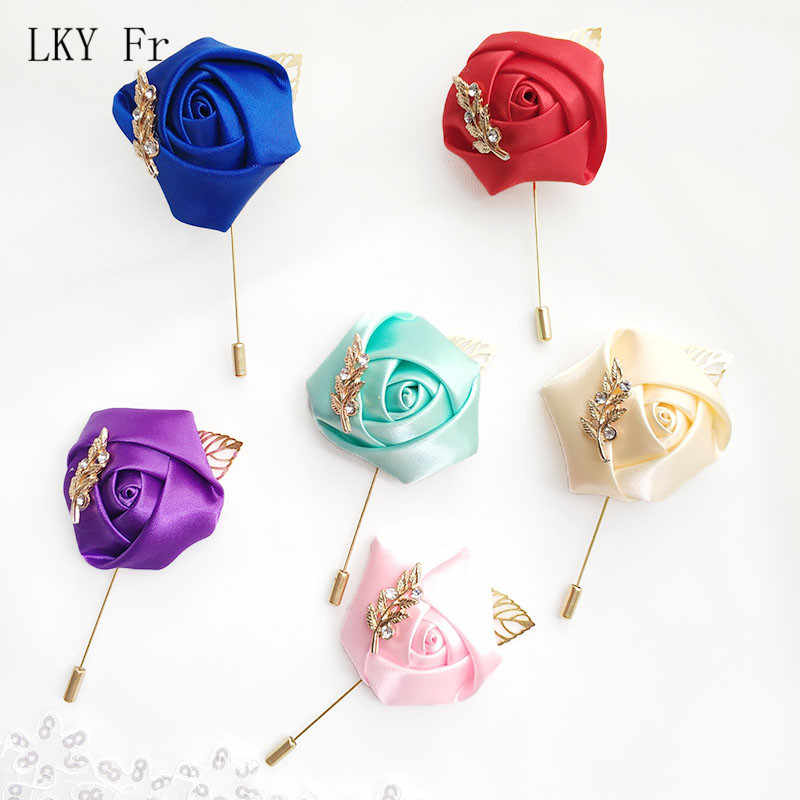LKY Fr Boutonniere Wedding Corsage Pin Flowers Ribbon Roses Rhinestone Boutonniere Men Mariage Wedding Corsages and Boutonnieres