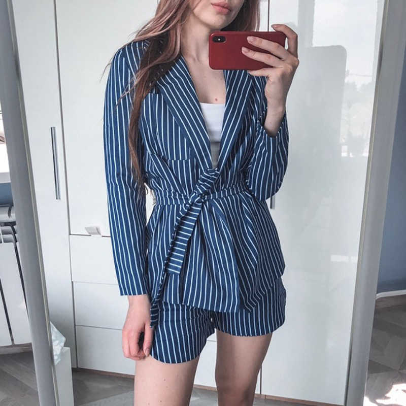 Elegant Striped Women Suits Two Piece Set 2019 Spring Summer Blue Blazer Tops and Elastic Waist Shorts Office Ladies Tracksuits