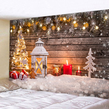 Wall Hanging Tapestry Lighthouse Snowflake Christmas For Square Happy New Year Tribe Style 100%Polyester Fabric