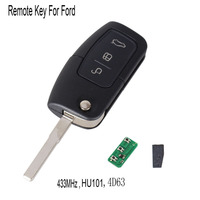 433MHz 4D63 Chip 3 Buttons Flip Folding Remote Control Key For Ford Mondeo Focus Fiesta C
