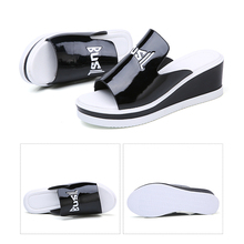 Women Mules Sandals Wedge Platform Patent Leather Slip on