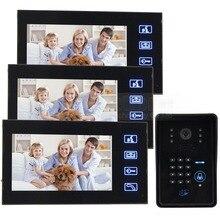 DIYSECUR Video Doorbell Door Phone Intercom System 1 Camera 3 Monitor + Code Password Keypad RFID Reader Remote Control