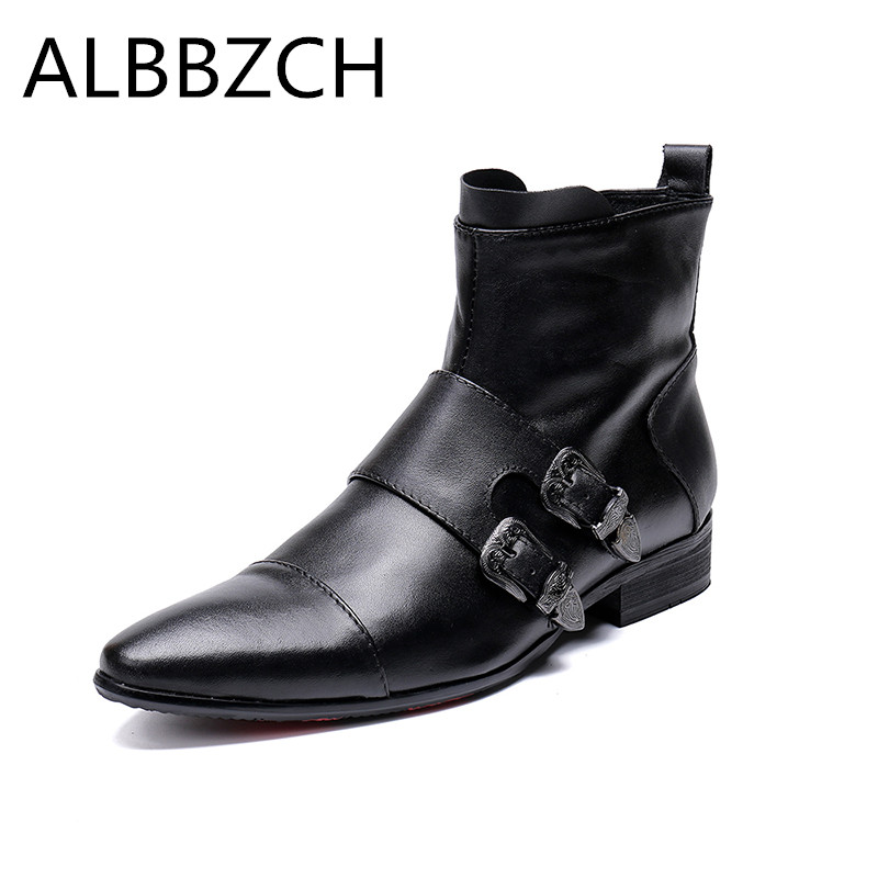 Mens pointed toes genuine leather ankle boots westorn cowboy fashion motorcycle boots luxury buckle brand design military boots