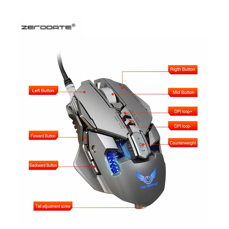 US $20 39 32% OFF|ZERODATE 3200 DPI USB Wired Competitive Gaming Mouse 7  Programmable Buttons Mechanical Macro Definition Programming Game Mice-in