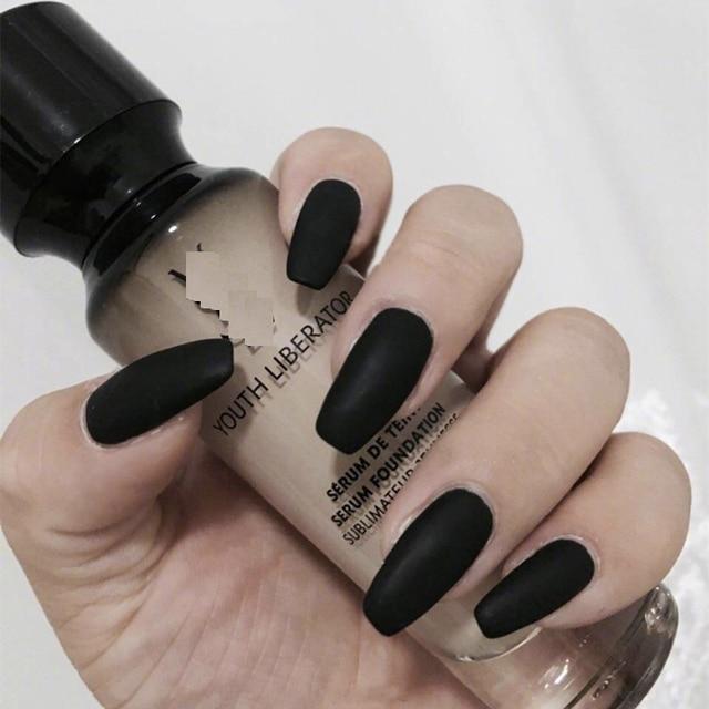 24pcs Set Matte Black Artificial Coffin Nails Las Nail Art Decoration Full Cover False
