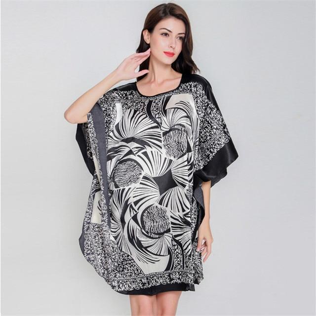 Female Satin Robe Dress Nightgown Novelty Women's Kaftan Bath Gown Summer Lounge Homewear Plus Size 6XL 1