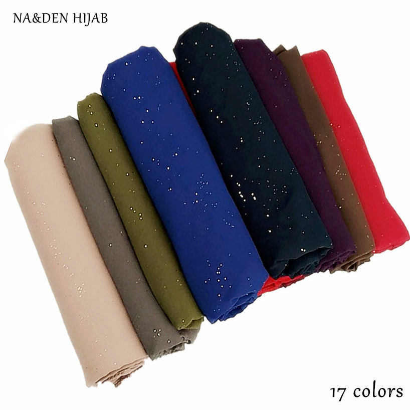 NEW Glitter plain bubble chiffon hijab solid color scarf scarves fashion Muslim scarfs popular hijabs gorgeous
