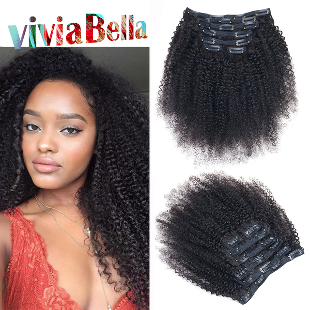 Peruvian Virgin Hair Clip In Curly Hair Extensions Afro Kinky Clip