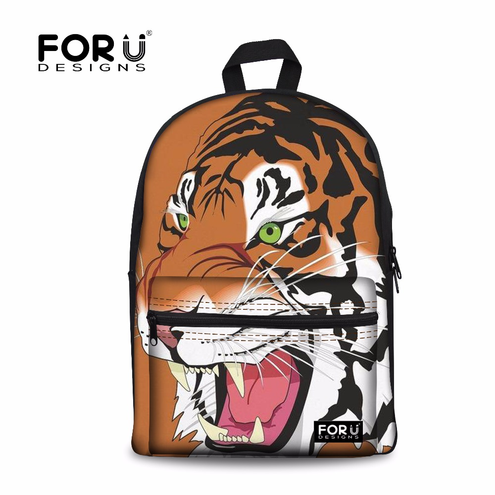 FORUDESIGNS School Bags Tiger Zebra Fox Printing Childrens Backpack Teenagers Boys Backpack Schoolbag Kids Bag Mochila Escolar